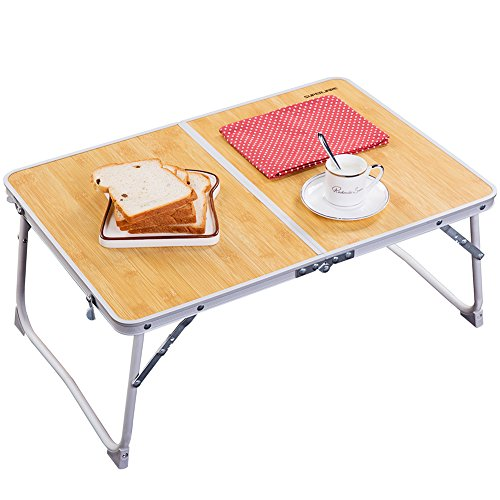 Foldable Laptop Table | Superjare Bed Desk | Breakfast Serving Bed Tray | Portable Mini Picnic Table & Ultra Lightweight | Folds in Half w' Inner Storage Space - Bamboo Wood Grain (Tray Breakfast On A)