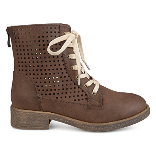 Womens up cut Boots Brown Faux Leather Laser Co Brinley Lace gwAq55
