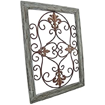 distressed wooden green frame wrought iron fleur de lis wall decor 22 x 16 in home. Black Bedroom Furniture Sets. Home Design Ideas
