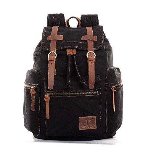 Canvas Backpack Vintage Rucksack Hiking Travel Outdoor Shouder bag Carry Case Black #220 (Top Anime For Adults)