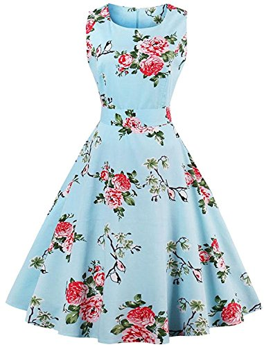 (FitDesign Women's 1950s A Line Vintage Dresses Audrey Hepburn Style Floral Party Dress (Small, Black Red Housewife)