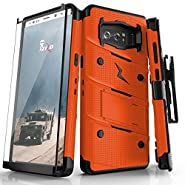 Samsung Galaxy Note 8 Case, Zizo [Bolt Series] FREE [Curved Full Glass Screen Protector]Kickstand[12 ft. Military Grade Drop Tested]Holster Note 8