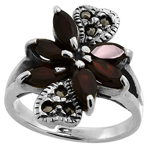 asite Double Heart Ring, w/ Natural Garnet, 5/8 inch (16 mm) wide, size 7.5 (Marcasite Heart Ring)