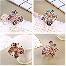 Casualfashion 4Pcs Chic Full Crystal Rhinestone Butterfly Bangs Clip Bow Hair Claw Gripper for Girl Women 1.18×0.78 inch