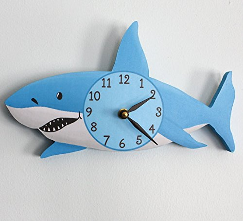 - Toad and Lily Shark Wooden Wall Clock for Kids Bedroom Baby Nursery WC0072
