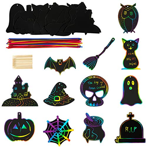 Best Halloween Craft Supplies (Biubee 48 Pieces Halloween Theme Scratch Paper- Rainbow Scratch Art Paper Card Pumpkin Bat Castle Hats Craft Kit with 24pcs Wooden Styluses and 48pcs Ribbons for Birthday Halloween Party)