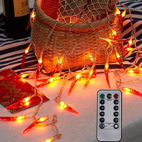 Dreamworth Red Chili String Lights,20ft 40 LED Chili String Lights Battery Operated Remote Contol Fairy Lights for Wedding, Chinese New Year,Spring Festival,Party -