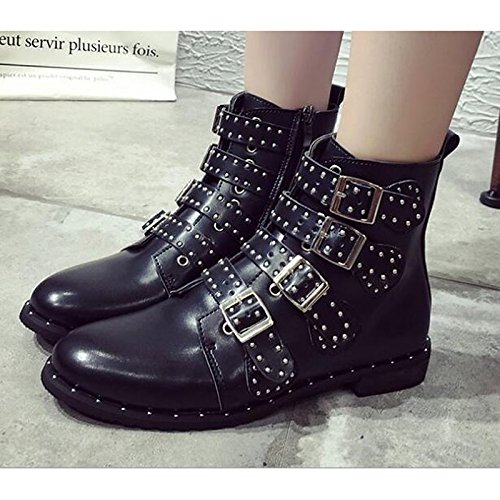 Black PU Heel Black Winter ZHZNVX Boots for Casual Shoes Booties HSXZ Boots Ankle Combat Women's Fall Low Boots Comfort wwqxUtPfnC