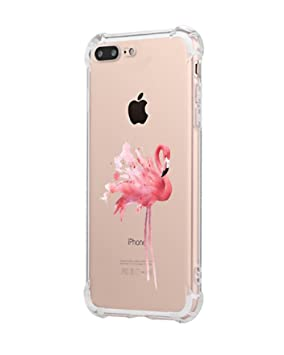 Freessom Coque Iphone 8 7 Silicone Flamant Rose Exotique Transparente Motif Original Retro Dessin Couleur Avec La Pomme Souple Tpu Anti Choc Fantaisie
