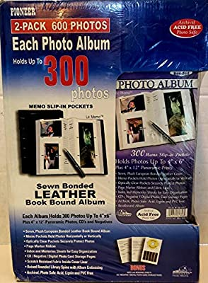 "Pack of 2 - Sewn Bonded Leather Book Bound Album - Each Album Holds 300 Photos UP to 4"" x 6"""