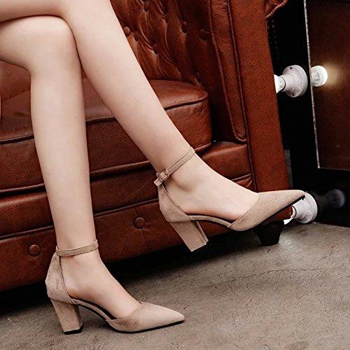 ranurada Zapatos Carrera es Correa Gruesa Qiqi de versátil Tacón Zapatos Señaló con Sandalias Caqui Elegante Xue y Matte única Twtp7n