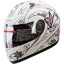 IV2 Matte White Pink Butterfly Full Face Street Bike Motorcycle Helmet [DOT] - Large