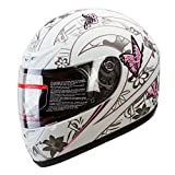 IV2 Matte White Pink Butterfly Full Face Street Bike Motorcycle Helmet [DOT] - Medium