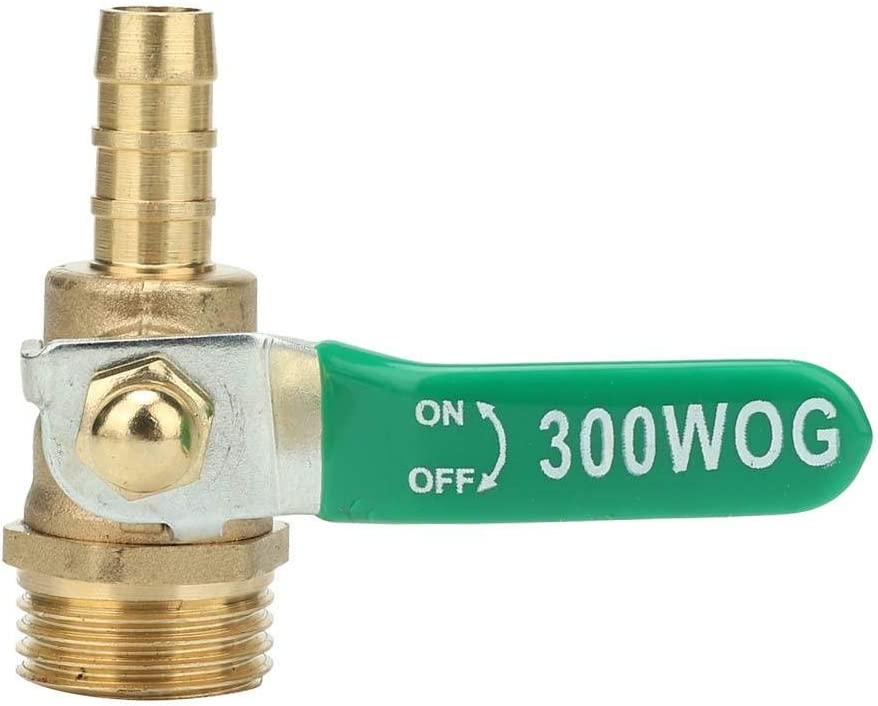 12mm Water G1//2 Male Thread Ball Valve Hose Barb Ball Valve Green Lever Handle Thicken Brass Pipe Ball Valve for Air