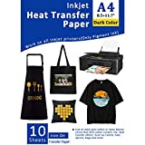 Iron-On Heat Transfer Paper for Dark Fabric 10 Sheets 8.3x11.7' T-Shirt Transfer Paper for Inkjet Printer Wash Durable, Long Lasting Transfer, No Cracking