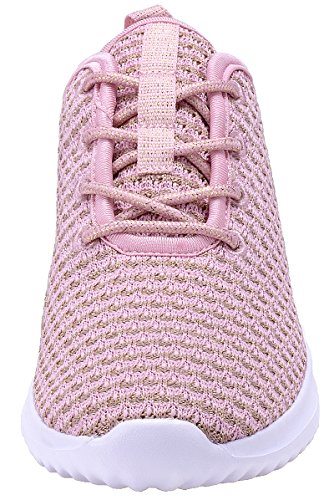 COODO Pink White Sneakers Casual Breathable Women's Athletic Shoes Hqr4AH