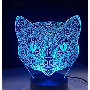 QiXian Night Light Wall Lamp Led Lamp Cat Face 3D Visual Light Optical Illusion Led Night Light Amazing 7 Color Art Cat Head Touch Sensitive Switch Light Drop for Kitchen Bedroom Living Room