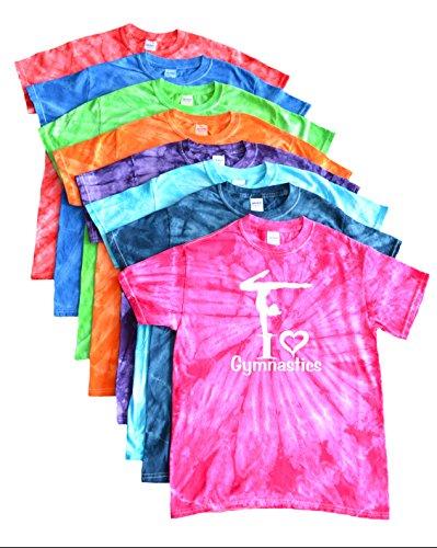 JANT girl Gymnastics Tie Dye T-Shirt I Love Gymnastics Logo (Purple, YL) - Gymnastics Youth T-shirt