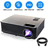 HD 1080P Supported Home Theater Projector, PONER SAUND M5 3500 Lumens Full HD Home Projector 200'' LCD Video Projector Built-in Speakers Support Ipad, Fire TV Stick, PS4, HDMI, VGA, TF, USB