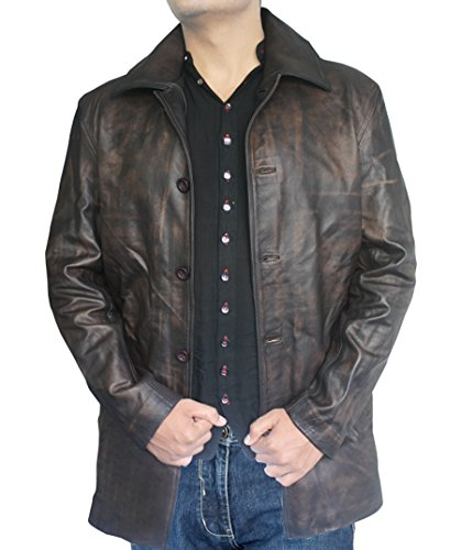 Distressed Leather, Real Cow Hide, Super Natural, Winchester 3/4 Brown Coat for Sale on Amazon (XXL)