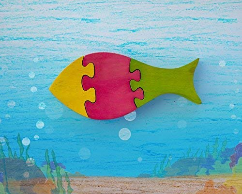 storeindya Thanksgiving Gifts Fish Shaped Wooden Jigsaw Puzzle Brain Teaser Toys and Gamesfor Kids (Fish) (Fish Jigsaw Big Wooden)
