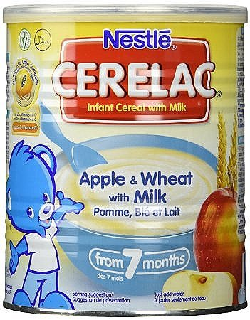Nestle Cerelac Infant Cereal with Milk From 7 Months Apple & Wheat -- 14 oz