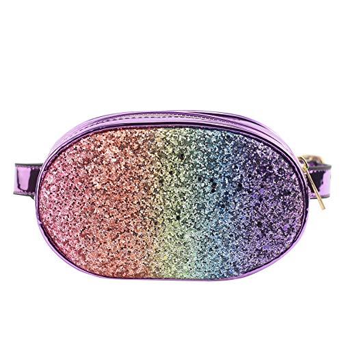 CMK Trendy Kids Toddler Fanny Pack for Girls Kids Crossbody Purse Small Waist Bags with Belt (Glitter Rainbow) -