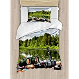 Hunting Decor Duvet Cover Set by Ambesonne, Fishing Tackle on a Pontoon Lake in the Woods Trees Gree