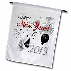 Doreen Erhardt New Year Collection - Happy New Year 2013 Black and White - 18 x 27 inch Garden Flag (fl_52309_2)
