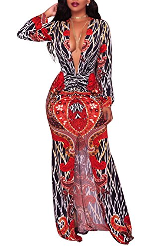 c13c89a60 Women's Sexy V-Neck Floral Juniors Plus Size Modest Midi Dresses Casual  Bodycon Club Outfits