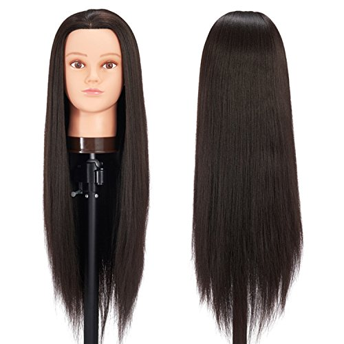 Hairginkgo 26-28 Super Long Cosmetology Mannequin Manikin Synthetic Fiber Training Head Doll Head with Clamp (Black&Thick)