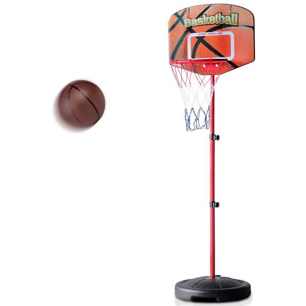 Fajiabao Kids Basketball Hoop Stand Set Adjustable Height 2.5 ft. -5.1 ft with Ball & Net Play Sport Games for Toddlers Boys Girls Children Indoors Outdoors Toys