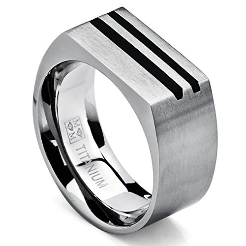 Mens Bold Titanium Pinky Ring Bands with Resin Inlay, Brushed Finish Comfort Fit 10mm Wide