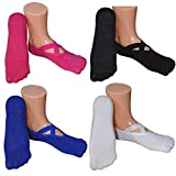 Womens Ballet Style No Show Low Cut Hospital Slipper Socks Great for Barre Pilates Yoga with Non Skid Grips Pack of 4
