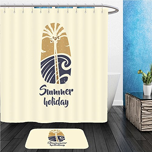 Beshowereb Bath Suit: ShowerCurtian & Doormat hand drawn vector image with palm tree and sea concept design for print on t shirt logo for - Logo Of Versace Images