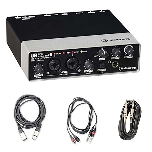 Steinberg UR22MKII USB Recording Podcast Audio Interface, Cubase AI Recording Software with Cables