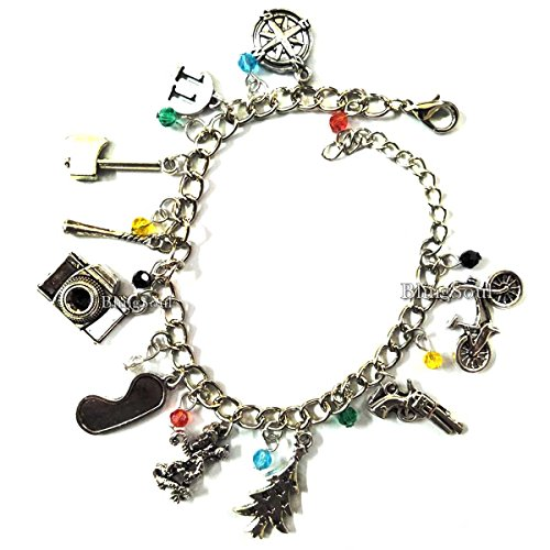 BlingSoul Stranger Things Charm Bracelet ST Costume Jewelry Merchandise For Womens (Silver)