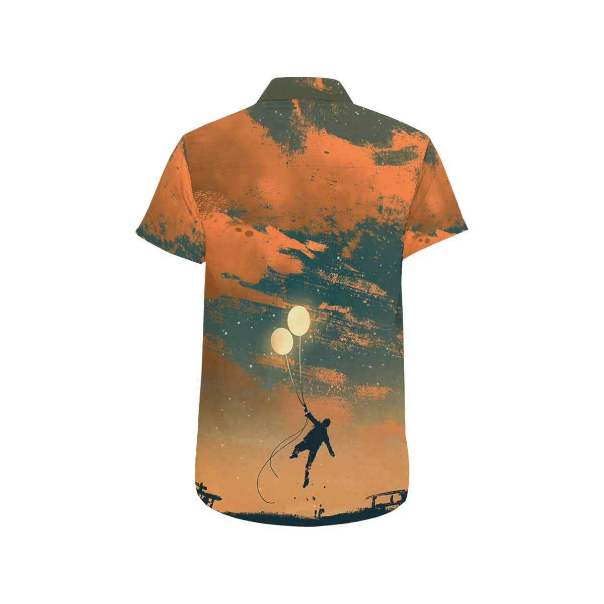 InterestPrint Mens Man Flying with Balloon Lights Short Sleeve Shirt S-5XL
