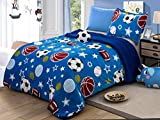 All American Collection New 3 Piece Borrego/Sherpa Blanket with Pillow Sham and Cushion Twin Size (Soccer Ball)