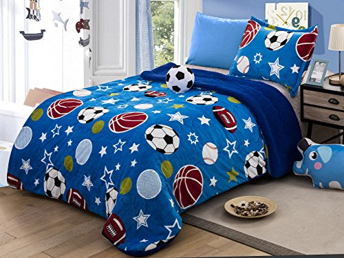 All American Collection New Super Soft and Warm 3 Piece Borrego/Sherpa Blanket with Pillow Sham and Cushion Twin Size (Soccer Ball)