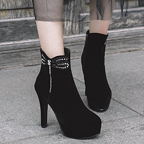 YE Damen Ankle Boots Stiletto Stiefeletten Plateau High Heels mit Pailletten und Reißverschluss 12cm Absatz Elegant Schuhe Schwarz