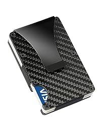Slim RFID Blocking Carbon Fiber Men's Card Holder Wallet with Money Clip (Carbon fiber)
