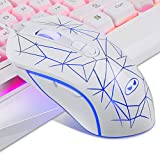 White Gaming Keyboard and Mouse Combo,MageGee GK710 Wired Backlit Keyboard and White Gaming Mouse Combo,PC Keyboard and Adjustable DPI Mouse for PC/loptop/MAC