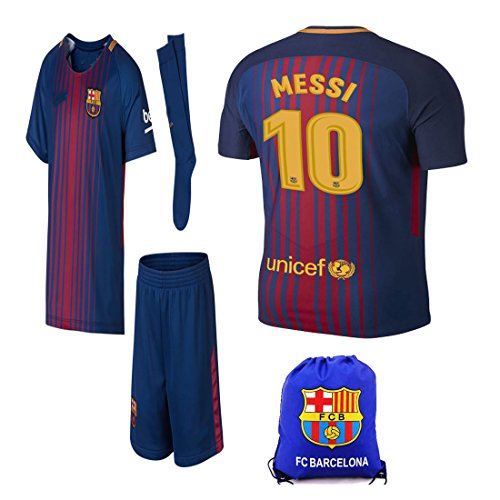 BARCA2018 Barcelona NB Messi Suarez Iniesta Neymar 2017 2018 17 18 Kid  Youth Replica Home Jersey Kit   Shirt a4393e22d47f8