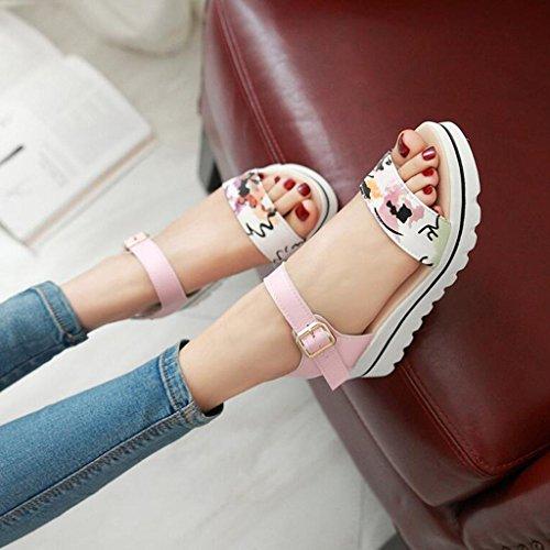 Femelle Talons Doux Antidérapante À Été Chaussures Rose en PU Ouvert Bout Semelle Plats Sandales Polyuréthane B871wxqx4