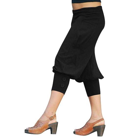 Luckycat Pantalones Capri para Mujer Pantalones Baggy Moda ...