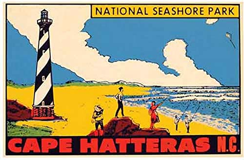 Cape Hatteras North Carolina National Seashore Park Vintage Travel Decal Sticker