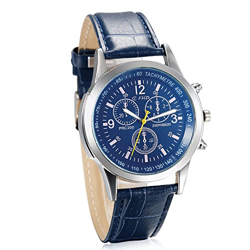 JewelryWe Business Casual Men's Quartz Wrist Watch Blue Dial Leather Strap Watches (Leather Dial Blue Mens)