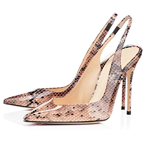 Brown Slingback Pumps Closed High Elegant Shoes Toe Heel EDEFS Womens Python Ladies Court RxzqwUvg7