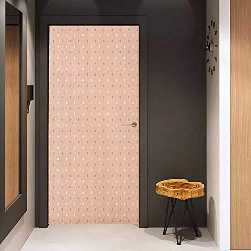 Onefzc Door Wall Sticker Pink Romantic Vintage Classic in 50s 60s Style Image with Dots Pattern Print Mural Wallpaper W23 x H70 Salmon Lilac and White (1950s Princess Phone)